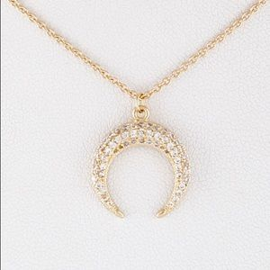 Radiant Crescent Moon Necklace with CZ Crystals